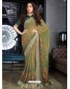 Mehendi Designer Casual Wear Cotton Linen Sari