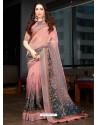 Light Red Designer Casual Wear Cotton Linen Sari