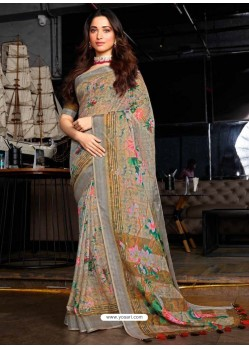 Multi Colour Designer Casual Wear Cotton Linen Sari