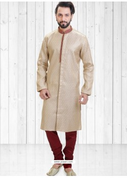 Light Beige Readymade Indowestern Sherwani For Men