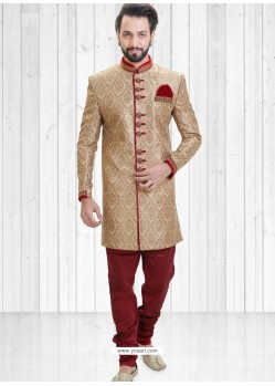 Beige Readymade Indowestern Sherwani For Men