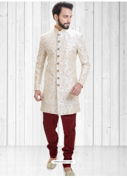 Off White Readymade Indowestern Sherwani For Men