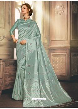 Light Grey Heavy Embroidered Designer Kanjivaram Art Silk Sari