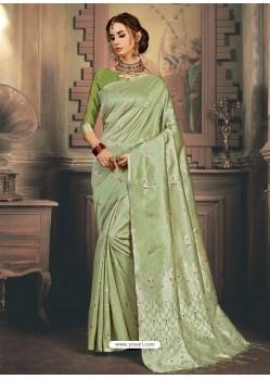 Green Heavy Embroidered Designer Kanjivaram Art Silk Sari