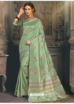 Olive Green Heavy Embroidered Designer Kanjivaram Art Silk Sari