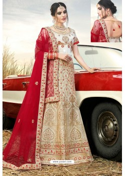 Off White Heavy Embroidered Naylon Satin Wedding Lehenga Choli