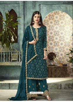 Teal Blue Designer Faux Georgette Palazzo Salwar Suit