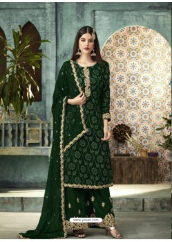 Dark Green Designer Faux Georgette Palazzo Salwar Suit