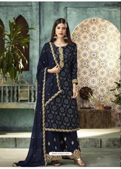 Navy Blue Designer Faux Georgette Palazzo Salwar Suit