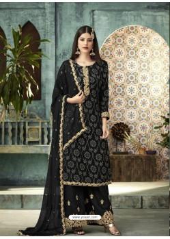 Black Designer Faux Georgette Palazzo Salwar Suit