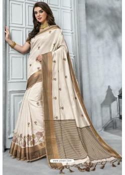 Off White Designer Casual Wear Raw Silk Sari