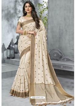 Stunning Off White Designer Casual Wear Raw Silk Sari