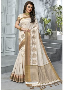 Sizzling Off White Designer Casual Wear Raw Silk Sari