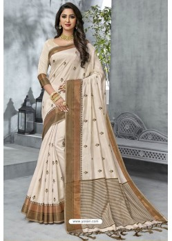 Elegant Off White Designer Casual Wear Raw Silk Sari