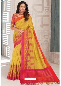 Yellow Designer Cotton Silk Party Wear Sari