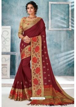 Maroon Designer Cotton Silk Party Wear Sari