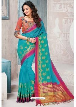 Turquoise Designer Cotton Silk Party Wear Sari