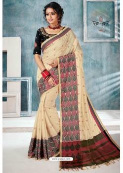 Light Beige Designer Cotton Silk Party Wear Sari