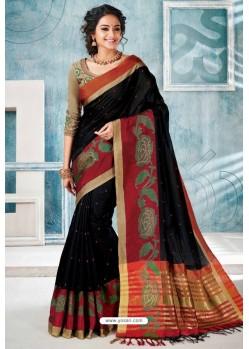 Black Designer Cotton Silk Party Wear Sari