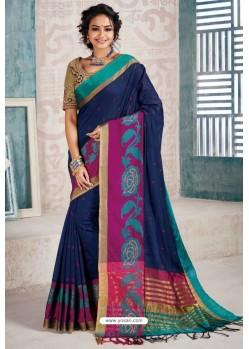 Navy Blue Designer Cotton Silk Party Wear Sari
