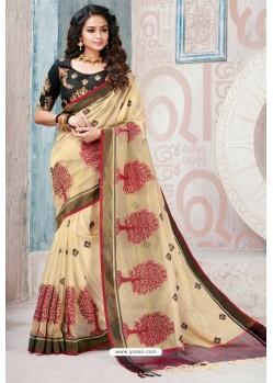 Cream Designer Cotton Silk Party Wear Sari