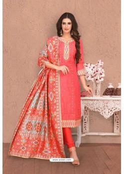 Dark Peach Embroidered Designer Chanderi Silk Churidar Salwar Suit