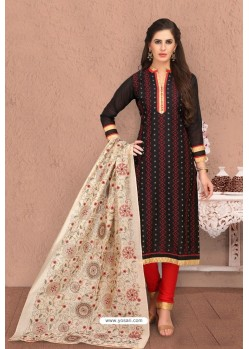 Black Embroidered Designer Chanderi Silk Churidar Salwar Suit