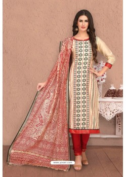 Khaki Embroidered Designer Chanderi Silk Churidar Salwar Suit