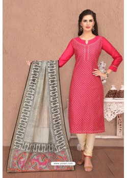 Fuchsia Embroidered Designer Chanderi Silk Churidar Salwar Suit