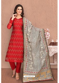 Red Embroidered Designer Chanderi Silk Churidar Salwar Suit