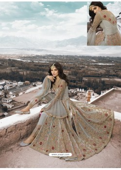 Grey Heavy Designer Party Wear Net Aanarkali Suit