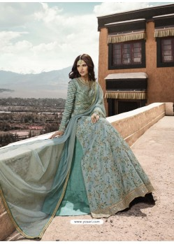 Aqua Grey Heavy Designer Party Wear Net Aanarkali Suit