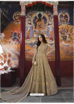 Beige Heavy Designer Party Wear Net Aanarkali Suit