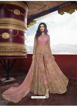 Pink Heavy Designer Party Wear Net Aanarkali Suit