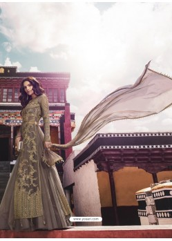 Taupe Heavy Designer Party Wear Net Aanarkali Suit