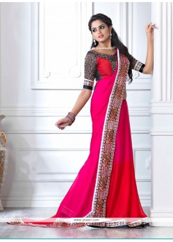 Luxurious Pink And Red Shaded Chiffon Party Wear Saree