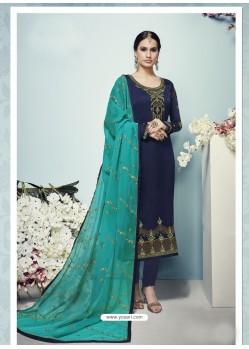 Navy Blue Festival Wear Heavy Georgette Designer Churidar Salwar Suit