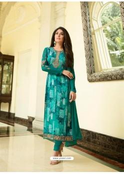 Teal Monsoon Special Designer Churidar Salwar Suit