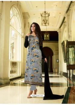 Aqua Grey Monsoon Special Designer Churidar Salwar Suit