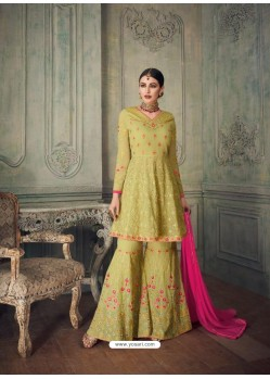 Green Heavy Embroidered Pure Georgette Designer Sharara Suit