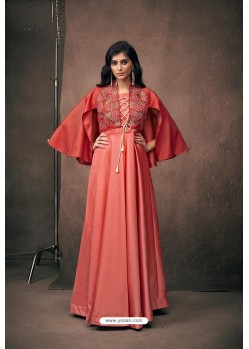 Peach Designer Party Wear Readymade Triva Satin Silk Gown
