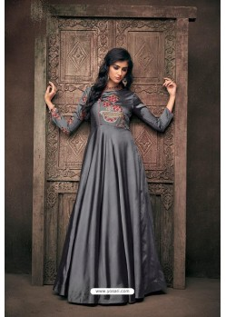 Grey Designer Party Wear Readymade Triva Satin Silk Gown