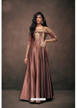 Light Brown Designer Party Wear Readymade Triva Satin Silk Gown