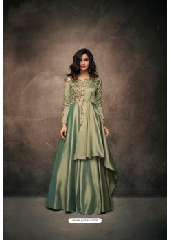 Olive Green Designer Party Wear Readymade Triva Satin Silk Gown