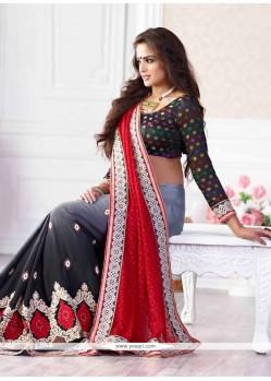 Red And Grey Shaded Embroidery Jacquard Designer Saree