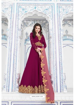 Medium Violet Heavy Embroidered Gown Style Designer Anarkali Suit