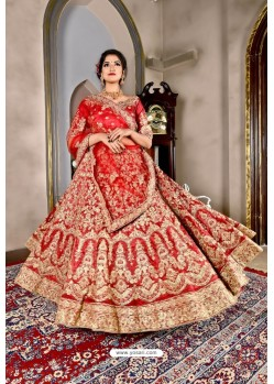 Red Bridal Heavy Embroidered Silk Lehenga Choli