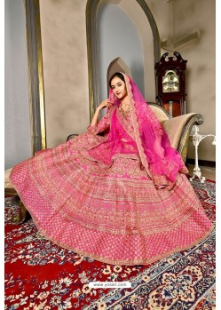 Fuchsia Bridal Heavy Embroidered Silk Lehenga Choli