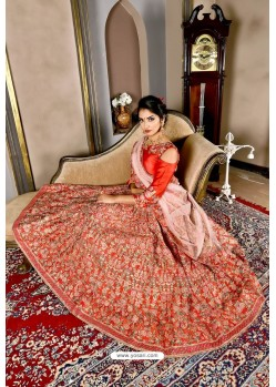 Tomato Red Bridal Heavy Embroidered Silk Lehenga Choli
