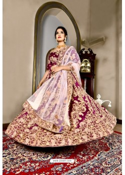 Medium Violet Bridal Heavy Embroidered Silk Lehenga Choli
